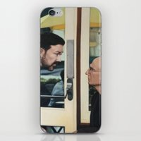 larry david iPhone & iPod Skins featuring Ricky Gervais and Larry David Stare Down by Laura Baran