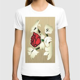 Red Rose with Mint Cream Background T-shirt