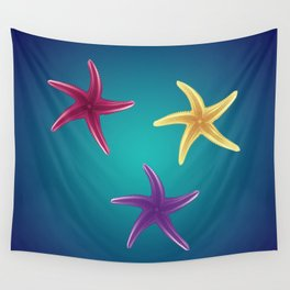 Colorful Starfishes Wall Tapestry