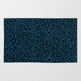 Teal Leopard Animal Pattern Rug