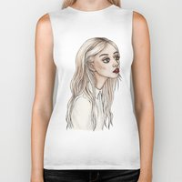 creepy Biker Tanks featuring Creepy Chan by Helen Green
