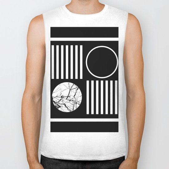 Retro Marble 2 - Abstract, geometric, black and white, bold, modern design Biker Tank