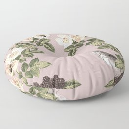 Birds and the Bees Pink Berry Floor Pillow
