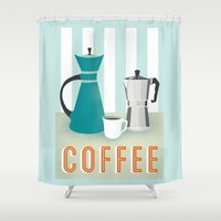 coffee Shower Curtains featuring Coffee by Jenny Tiffany