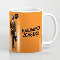 zombies Mugs featuring HALLOWEEN ZOMBIES by kravic