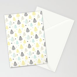 Geometrical gray yellow blue modern leaves Stationery Cards