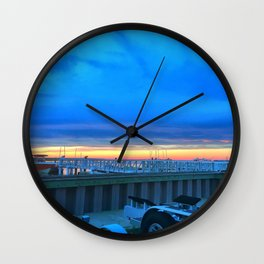 Dockside Dusk in Brigantine Wall Clock