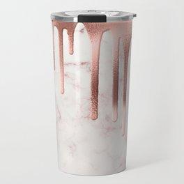 Rose Gold Marble Metallic Drips Travel Mug