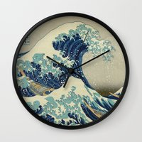 xbox Wall Clocks featuring The Great Wave off Kanagawa by Palazzo Art Gallery