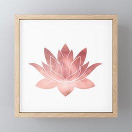 Pink Lotus Flower | Watercolor Texture Framed Mini Art Print