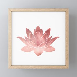 Pink Lotus Flower | Watercolor Texture Framed Mini Art Print