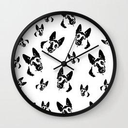 German Shepherd Dog Black White Wall Clock