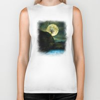 agnes Biker Tanks featuring The Moon and the Tree. by Viviana Gonzalez
