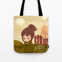 jane austen Tote Bags featuring Jane Austen - Lizzy Bennet by Vale Bathory