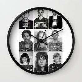 Rock and Roll Mug Shots Wall Clock