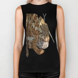 Chameleon Hanging On A Wire Fence Vector Biker Tank