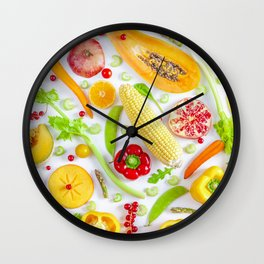 Fruits and vegetables pattern (12) Wall Clock