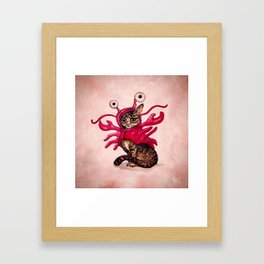 """""""Ma'ama Lisa"""" by Amber Marine ~ Lobster Cat, Watercolor and Ink, (c) 2015 Framed Art Print"""