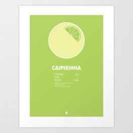 Caipirinha Cocktail Recipe Poster (Imperial) Art Print