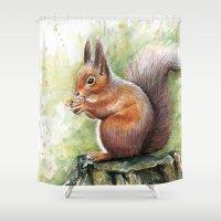 squirrel Shower Curtains featuring Squirrel by Olechka