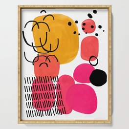 Modern Mid Century Fun Colorful Abstract Minimalist Painting Yellow Pink Bubble Candy Drops Serving Tray