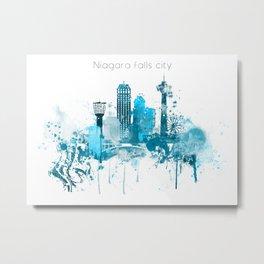 Niagara Falls Monochrome Blue Skyline Metal Print