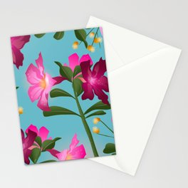 Desert Rose House Plant/Tropical Flower Pattern/Pink, Turquoise and green Stationery Cards