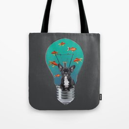 French Bulldog in bulb with goldfishes Tote Bag