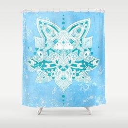 Happiness Mandala Metallic Pastel Blue Teal Shower Curtain
