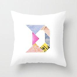 Tangram Alphabet - D Throw Pillow