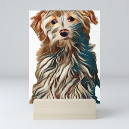 Bichon Frise cross puppy sat up isolated on a white background        - Image Mini Art Print