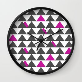 Gray and Pink Triangles Wall Clock