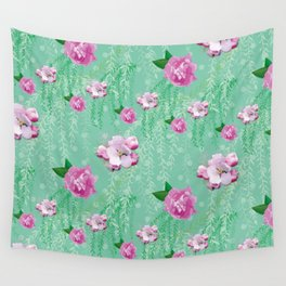 Blossom Willow Flower Pattern Turquoise & Pink Wall Tapestry