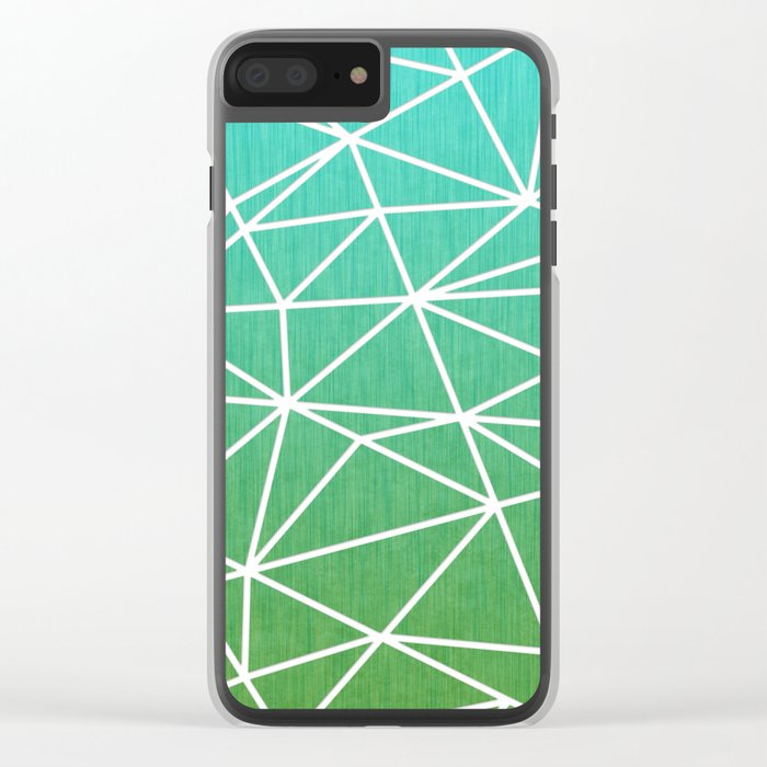 Abstract geometric   green & turquoise Clear iPhone Case