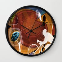 cycling Wall Clocks featuring Cycling by Tami Cudahy