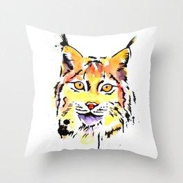 Watercolour lynx Throw Pillow
