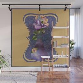 Purple Genie Bottle & Roses Wall Mural