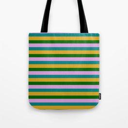 Eye-catching Plum, Teal, Goldenrod & Dark Green Striped Pattern Tote Bag