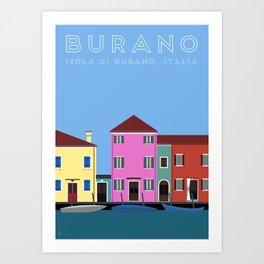 Isola di Burano, Italy Travel Poster Art Print