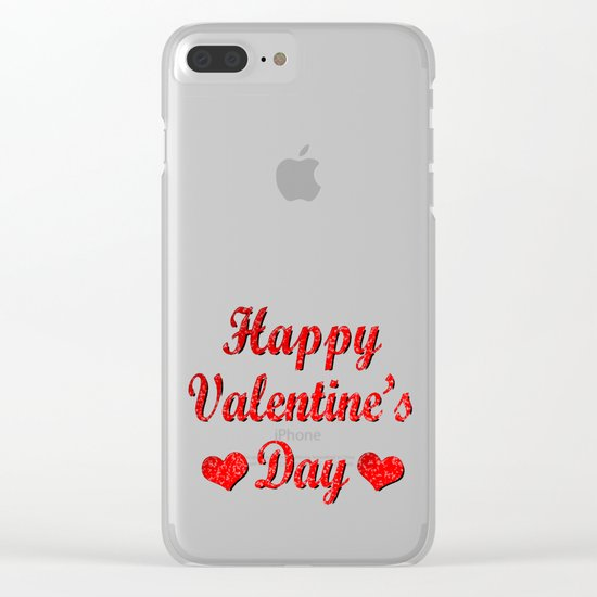 Happy Valentine's Day Red Hearts Clear iPhone Case