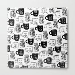 Abstract black white tea cups modern typography Metal Print