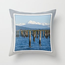 MOUNT BAKER KOMA KULSHAN AND OLD PILINGS  Throw Pillow