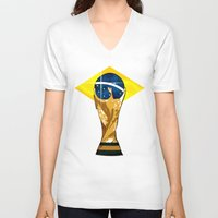 brazil V-neck T-shirts featuring Brazil 2014 by The Vector Studio