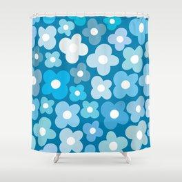 Blue Flower Power Shower Curtain