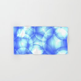 Gentle intersecting blue translucent circles in pastel colors with a heavenly glow. Hand & Bath Towel