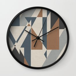 Teepee in Cinnamon Spice, Ivory, Charcoal Grey and Blue Wall Clock