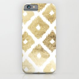 Modern chic faux gold leaf ikat pattern iPhone Case