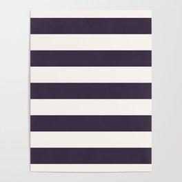 summer beach coastal nautical french fashion navy blue stripes Poster