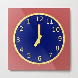 Clock with backward numbers Metal Print