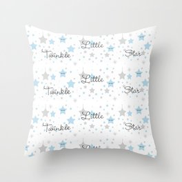Twinkle Little Star Blue Baby Boy Nursery Throw Pillow